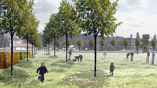 Skizze: Der Park Köniz in zwei bis drei Jahren...