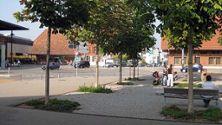 12) Baumviereck mit Brunnen auf dem Bläuackerplatz 2009