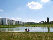 4) Liebefeld Park u. Weiher 2011: links neue Wohnungen